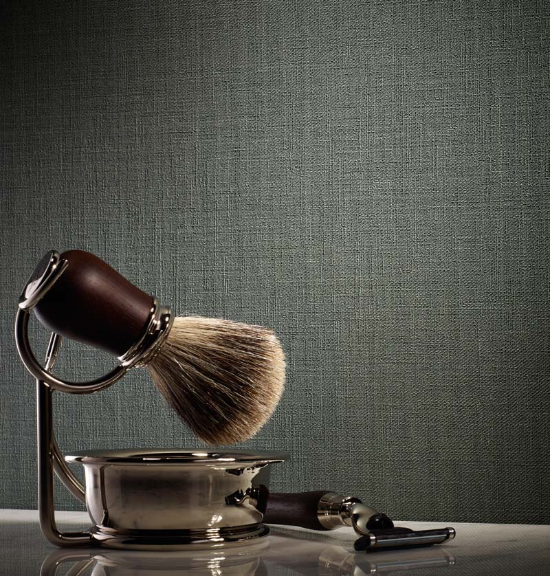 Kaden commercial wallcovering with shaving cream, brush and razor