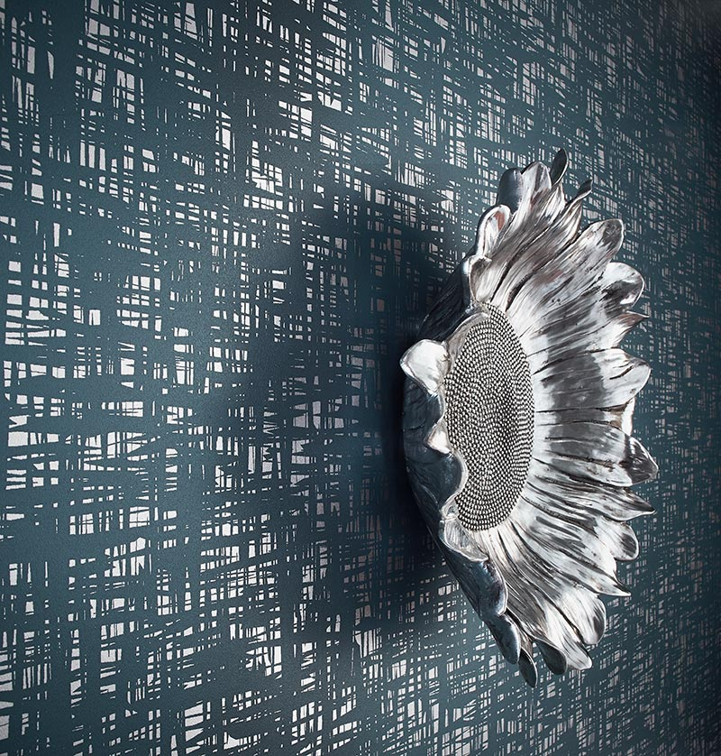 Shilo commercial wall covering by Colour & Design with scuplture