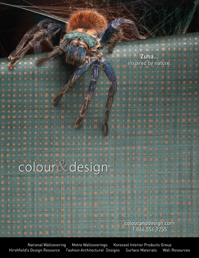 zuna cascade blue commercial wallcovering with spider
