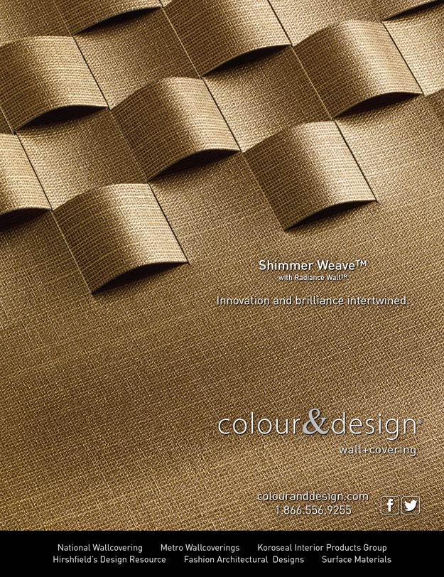 Colour & Design Shimmer Weave Advertisement in Interior Design April 2014 Commercial Wall Covering
