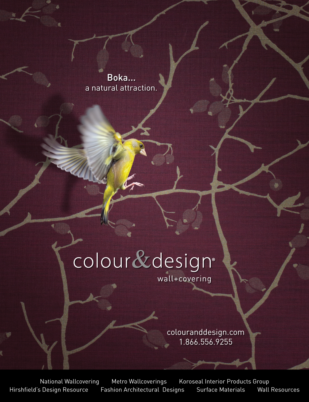 colour and design boka boysenberry purple commercial wallcovering with bird