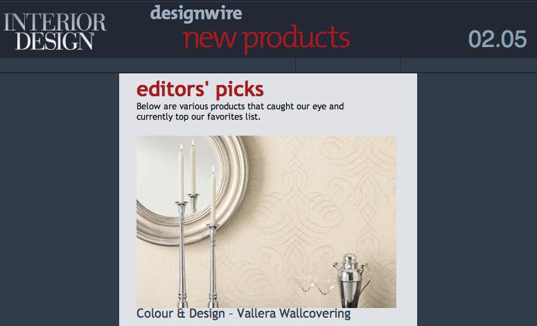Colour & Design's Vallera Wall Covering Chosen by Interior Design Editor Pick