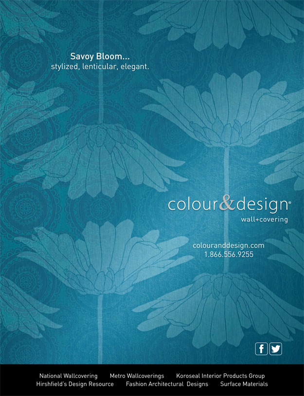 Colour & Design Savoy Bloom Ad in Interior Design December 2013 Commercial Wallcovering