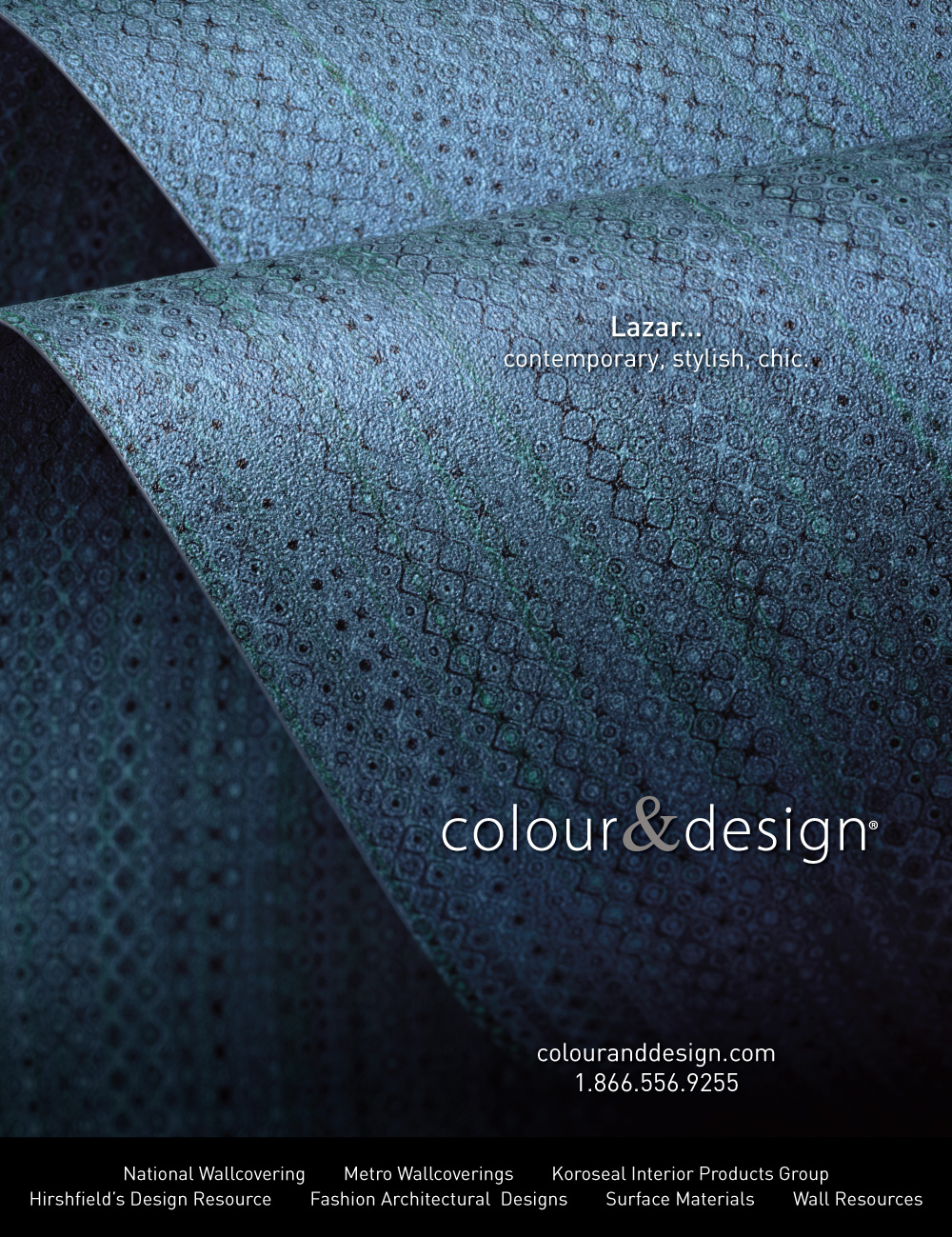 colour and design lazar cascade blue commercial wallcovering