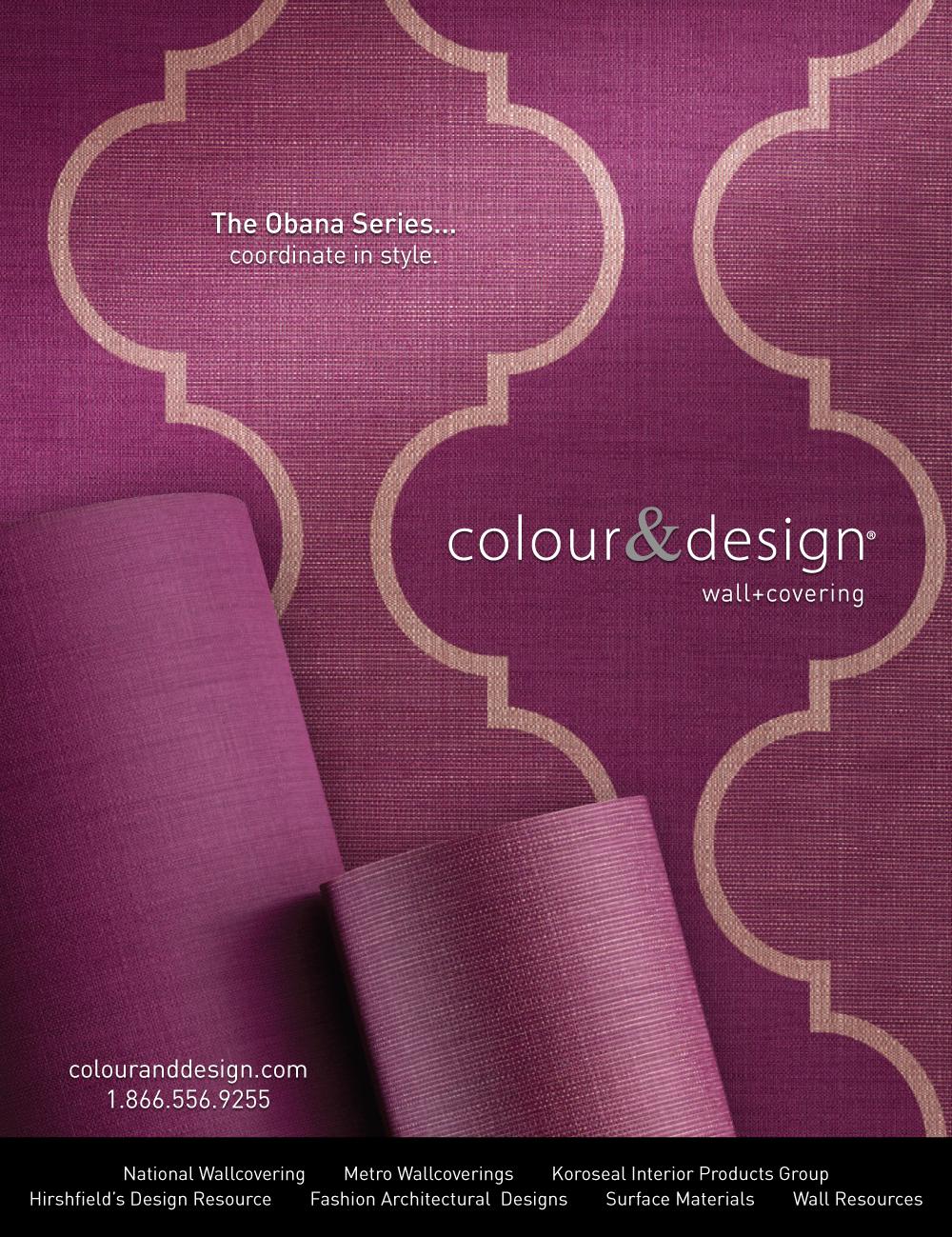 colour & design wallcovering obana ogee, obana glint, obana