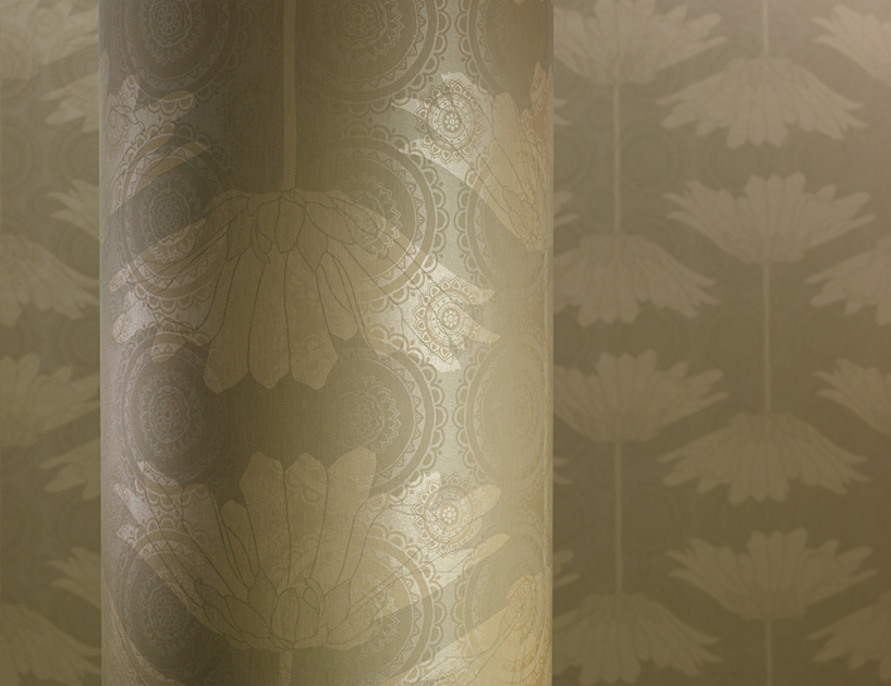 Savoy Bloom weathered teak commercial wallcovering colour and design