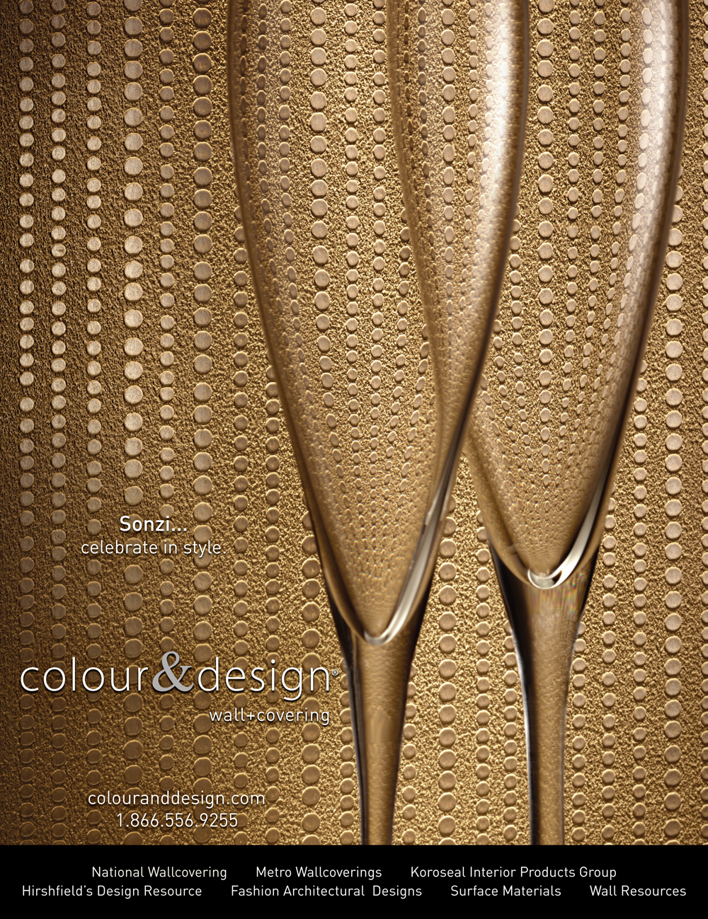 colour and design commercial wallcovering sonzi champaigne glasses tapestry gold