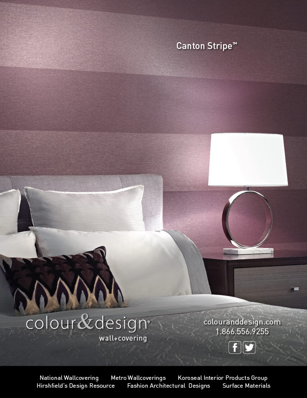 Colour & Design Canton Stripe Wallcovering Interior Design Magazine Advertisement December 2014